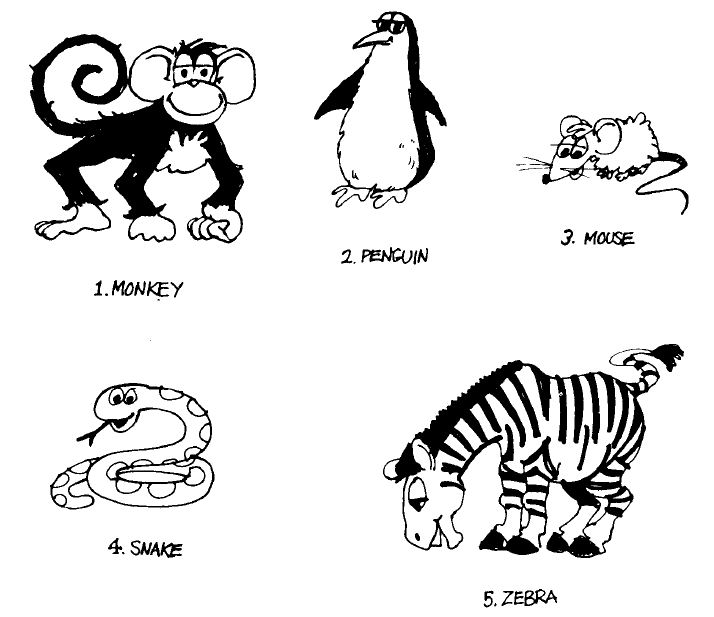 Animals Picture Collection, Monkey, Penguin, Mouse, Snake, Zebra