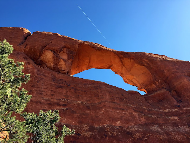 Skyline Arch in Arches National Park from the base of the wall.