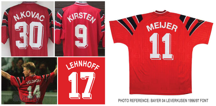 5e8d6cea9 Bayer 04 Leverkusen 1996-97 season player s nameset font style design.  Standard Adidas 90s design as worn by the most Bundesliga team with kits  label.