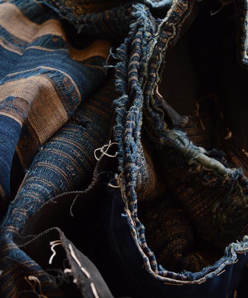 襤褸 古布 刺し子 藍染 継ぎ接ぎ 明治~ ジャパンヴィンテージ FUNS Boro Aizome Fabric Sashiko Japanese Vintage Patchwork Textile