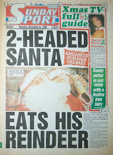 Front page of the Christmas 1988 Sunday Sport paper