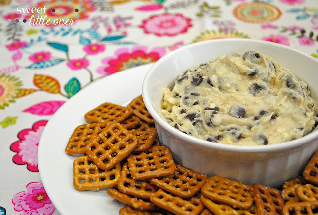 This Chocolate Chip Cookie Dough Dip Recipe is the perfect Egg- and Peanut-Free sweet snack and appetizer!  Using common ingredients, this delicious dessert dip only takes 5 minutes to make and is sure to be a crowd pleaser!  www.sweetlittleonesblog.com