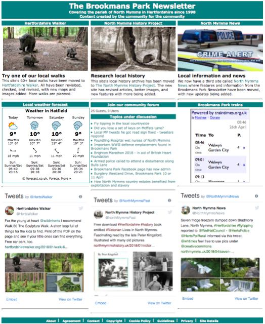 Screen grab of the Brookmans Park Newsletter front page taken on 26 April 2018
