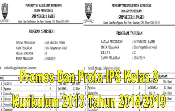 Promes Dan Prota IPS Kelas 9 Kurikulum 2013 Tahun 2018/2019