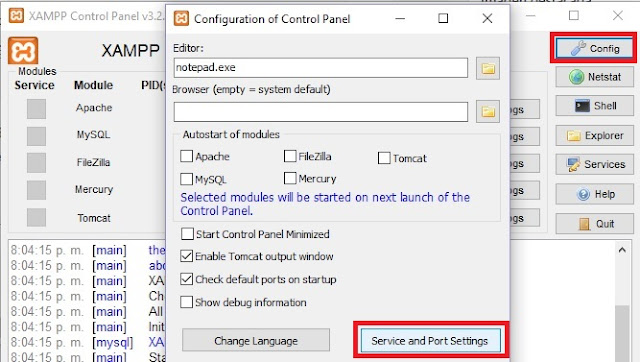 Cambiar puerto MySQL en XAMPP Windows