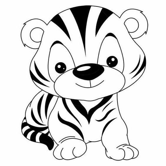 Tranh tô màu con hổ ngộ nghĩnh cho bé