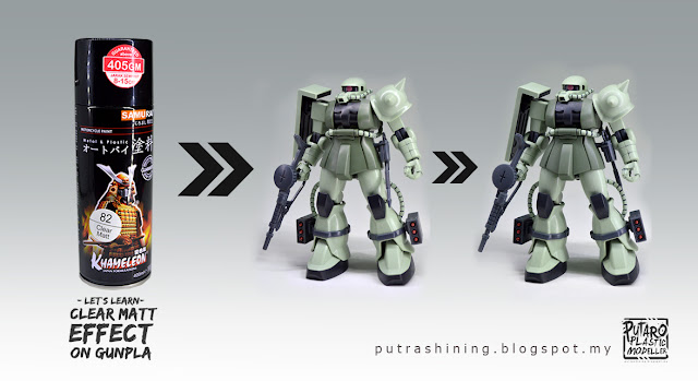 Tutorial Top Coat Gunpla, Clear Matt effect on gunpla by Putra Shining