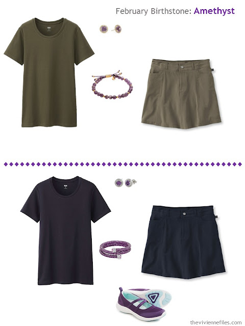 how to wear amethysts with olive or navy
