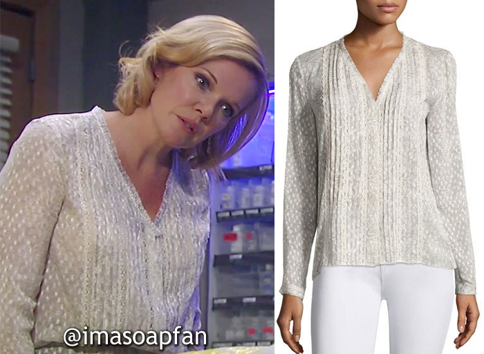 Ava Jerome, Maura West, Beige Print Blouse with Lace Trim, Elie Tahari, GH, General Hospital