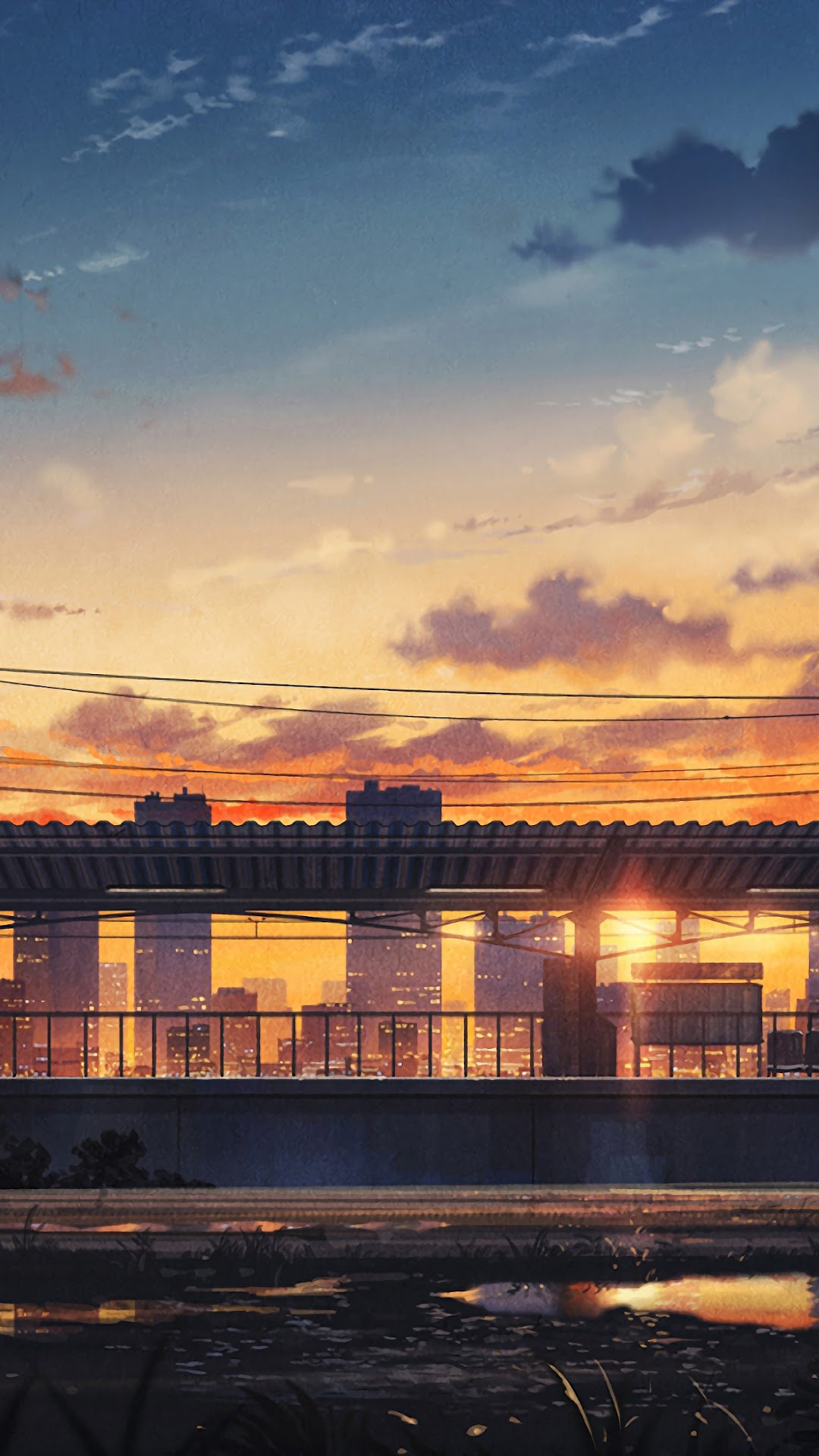 Sunset City Scenery Anime 4k Wallpaper 114