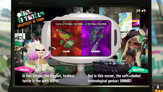 Splatoon 2 Splatfest Teenage Mutant Ninja Turtles TMNT round 3 final Raph versus Donnie Raphael Donatello
