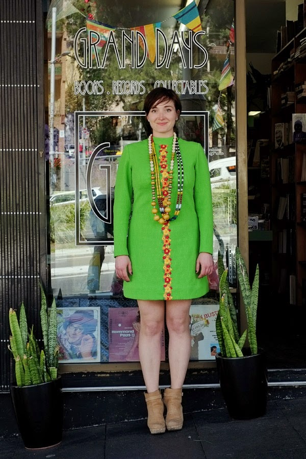 Tamara in colourful beads and 60s 70s lime green dress - Grand Days Bookshop Kings Cross, Woolloomooloo.