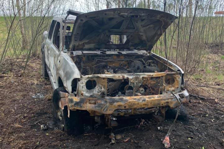 Sadegušās automašīnas vraks Foto: Kristīne Renebuša
