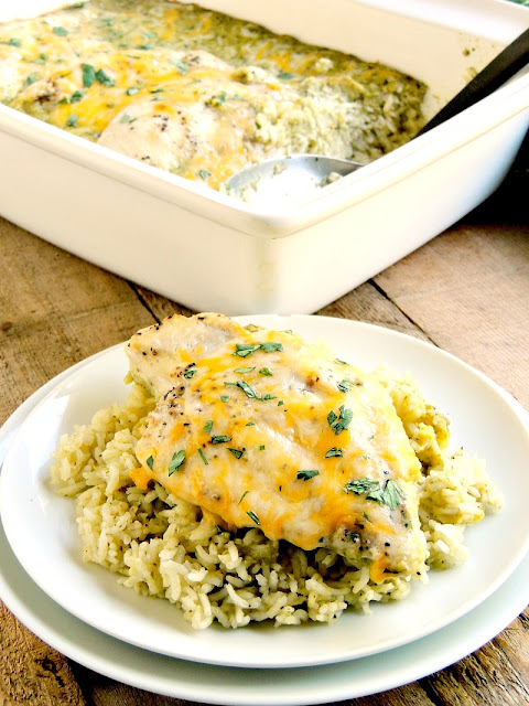 Oven One-Pan Baked Creamy Green Chile Chicken on a white plate