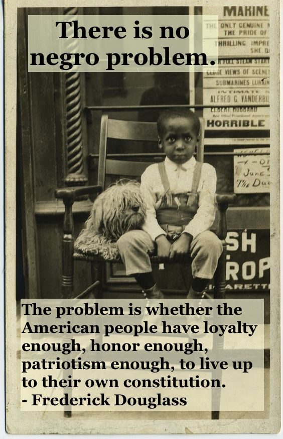 Photo young black child sitting in front of a store with a dog. c 1930s There is no negro problem quote by Fredrick Douglass. Other stories of Racism and Civil Rights. Well said, Mr. Douglass. marchmatron.com