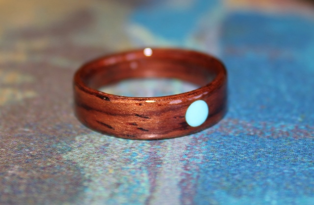 Tapered Rosewood ring with full moon Turquoise inlay