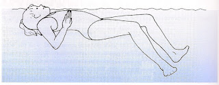 Viewed from the side  an image of a female swimmer on their back beginning to push her arms down for the stroke and bringing her legs together