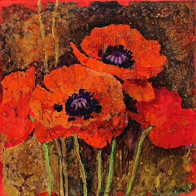 "CAROL NELSON FINE ART BLOG: Flower Art Painting ""Batik Poppies"" by ..."
