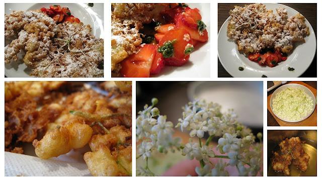 Hollerküchlein mit marinierten Erdbeeren und Basilikum-Minz-Pesto von Haferlgucker