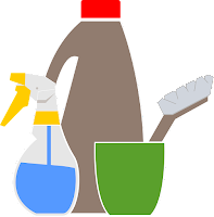 Group of cleaning bottles and a scrub brush