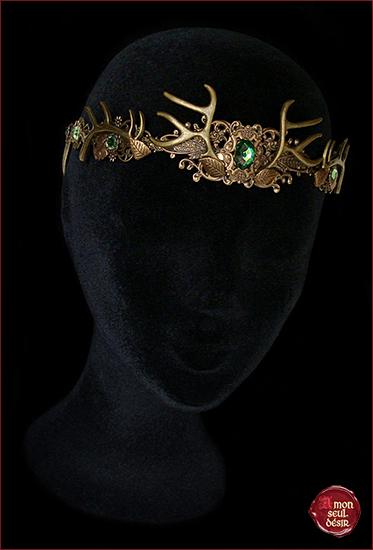 antlers bronze crown woodland faun tiara deer headdress wiccan pagan circlet couronne bois de cerf wicca elfique mariage biche tiare féerique