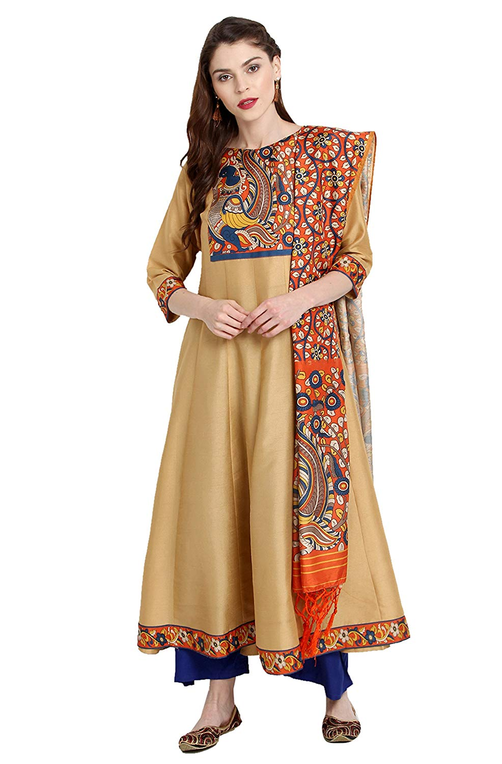 Janasya Women's Orange Poly Silk Anarkali Digital Print Kurta With Dupatta