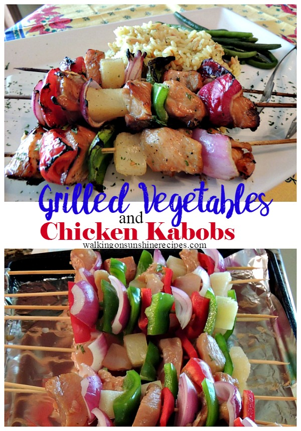 A delicious and easy marinade for grilled vegetables and chicken kabobs from Walking on Sunshine Recipes.