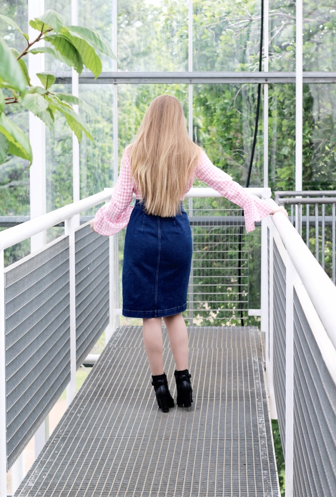 Midi Denim Pinafore Dress Fashion Styling