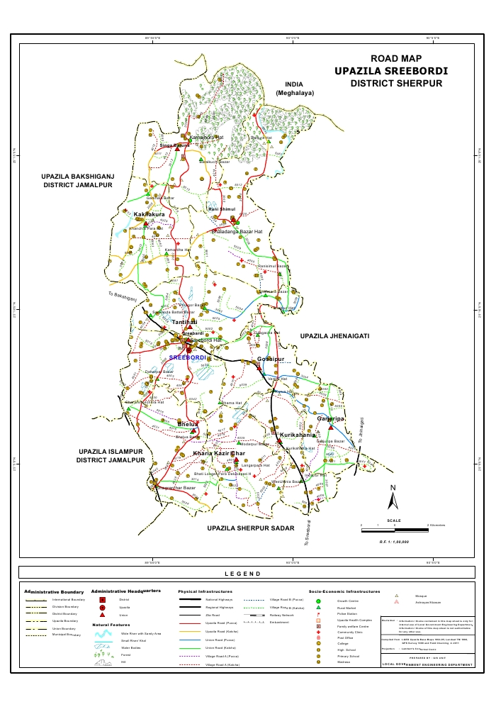 Sreebordi Upazila Road Map Sherpur District Bangladesh