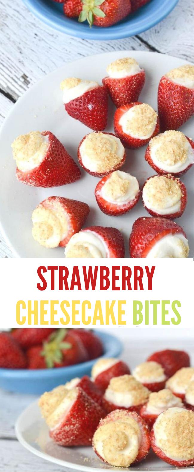 NO BAKE STRAWBERRY CHEESECAKE BITES #cake #cheesecake