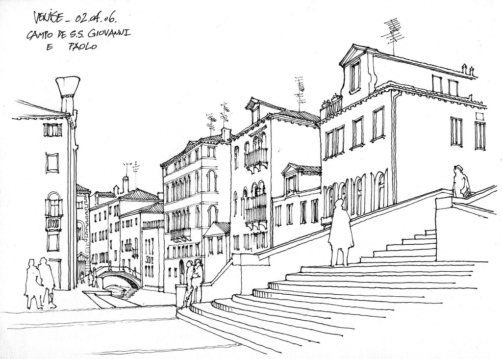 10-Venice-Campo-di-SS-Giovanni-&-Paolo-Gérard-Michel-Italian-Urban-Sketches-to-Capture-Architecture-in-a-moment-in-Time-www-designstack-co