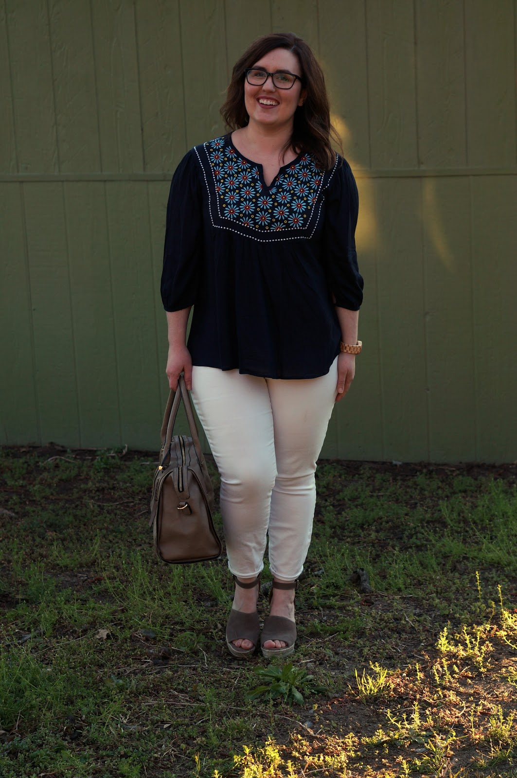 Rebecca Lately Peasant Blouse Skinny Jeans Steve Madden Jaylen Wedges Jord Wood Watches