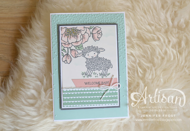 Stampin' Up! Baby Card featuring Birthday Blooms and Easter Lamb stamps by Jennifer Frost