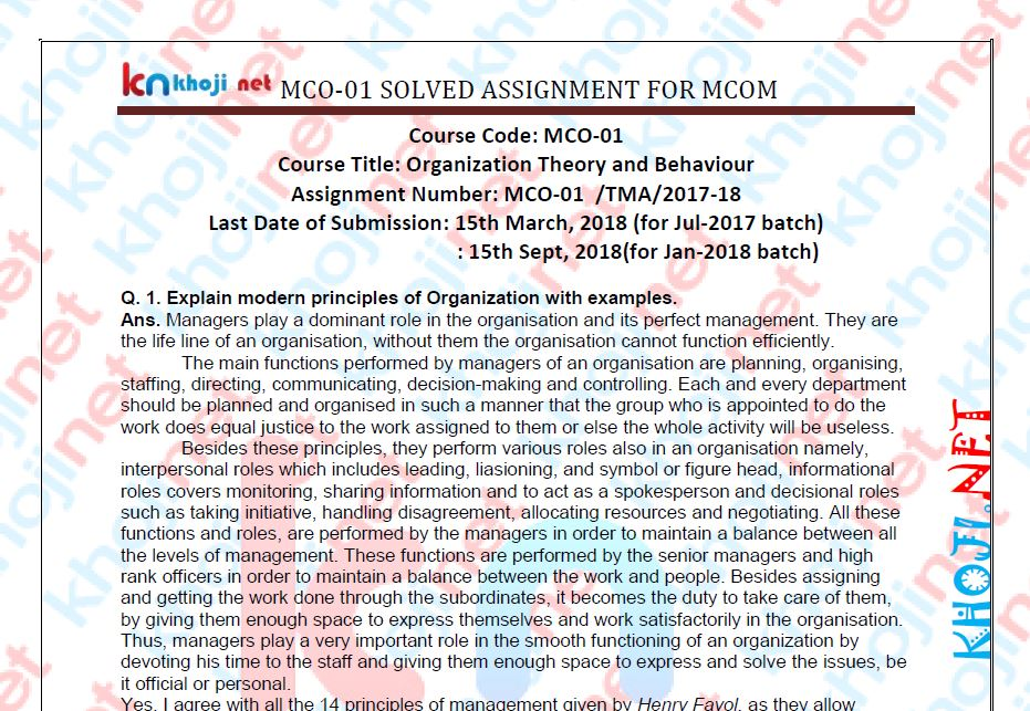 MCO-01 Solved Assignment For IGNOU MCOM 2nd Year 2018 Session