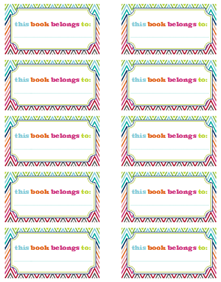 Iheart organizing free printables for Bookplate templates for word