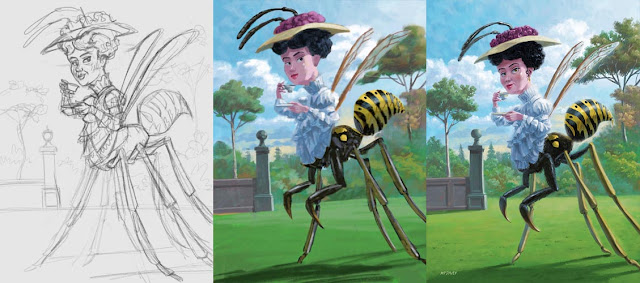 artwork bee lady drinking tea WIP Martin Davey