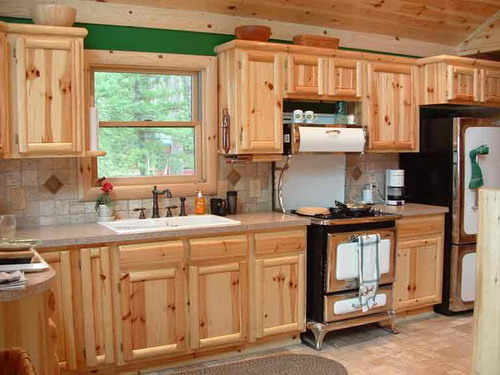 Weekend Project Installing Pine Kitchen Cabinet