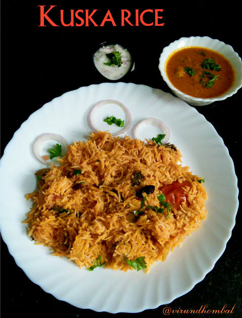 Kuska - One pot aromatic rice cooked with coconut milk and whole garamasala. Easy, delicious and flavourful rice within an hour. In this recipe, I used onions, tomatoes, ginger garlic paste, coriander leaves, mint leaves and spices. The coconut milk adds a certain richness to this rice. If you do not prefer to add coconut milk, then skip it. I have used all the other ingredients in minimal quantities so that the rice becomes more flavourful after it sits for a while and its delicious to serve at room temperature. The best side dishes for this rice are any kurmas made in thin consistency and onion raita. I don't prefer to cook this recipe on a pressure cooker. If you are in a hurry, then cook with 1 cup coconut milk and 1/2 cup water. Everything cooks together in one pot, the rice is really flavourful and tasty. Make sure you have all  ingredients ready before you begin. Now let's see how to prepare this rice with step by step photos. Check out my other rice varieties with step by step photos.