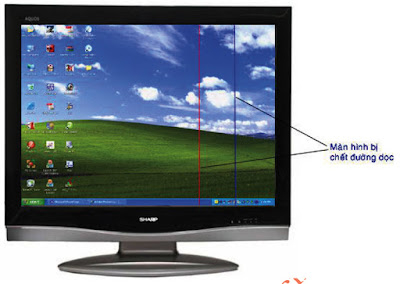 Hình 23 - Màn hình bị đứt mạch dọc tạo nên một vạch mầu xanh hoặc đỏ dọc màn hình.