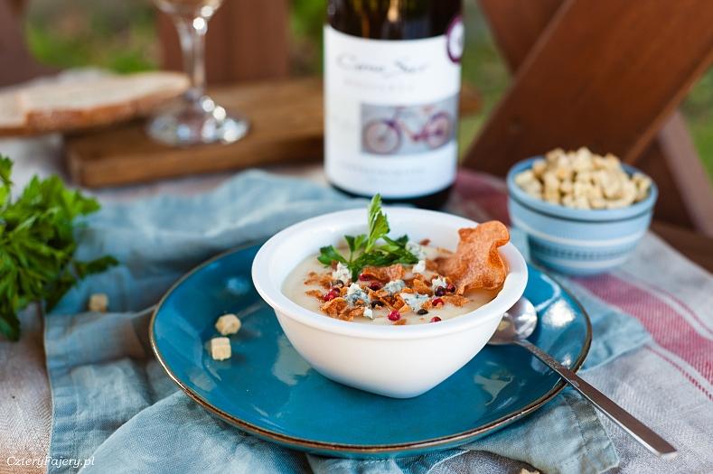 Zupa krem z białych warzyw z serem gorgonzola
