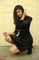 Mounika in a velvet short black dress for Tick Tack Movie Press Meet March 2017 068.JPG