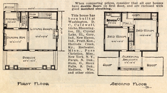 Sears Elmwood floor plan from 1914 Sears Modern Homes catalog