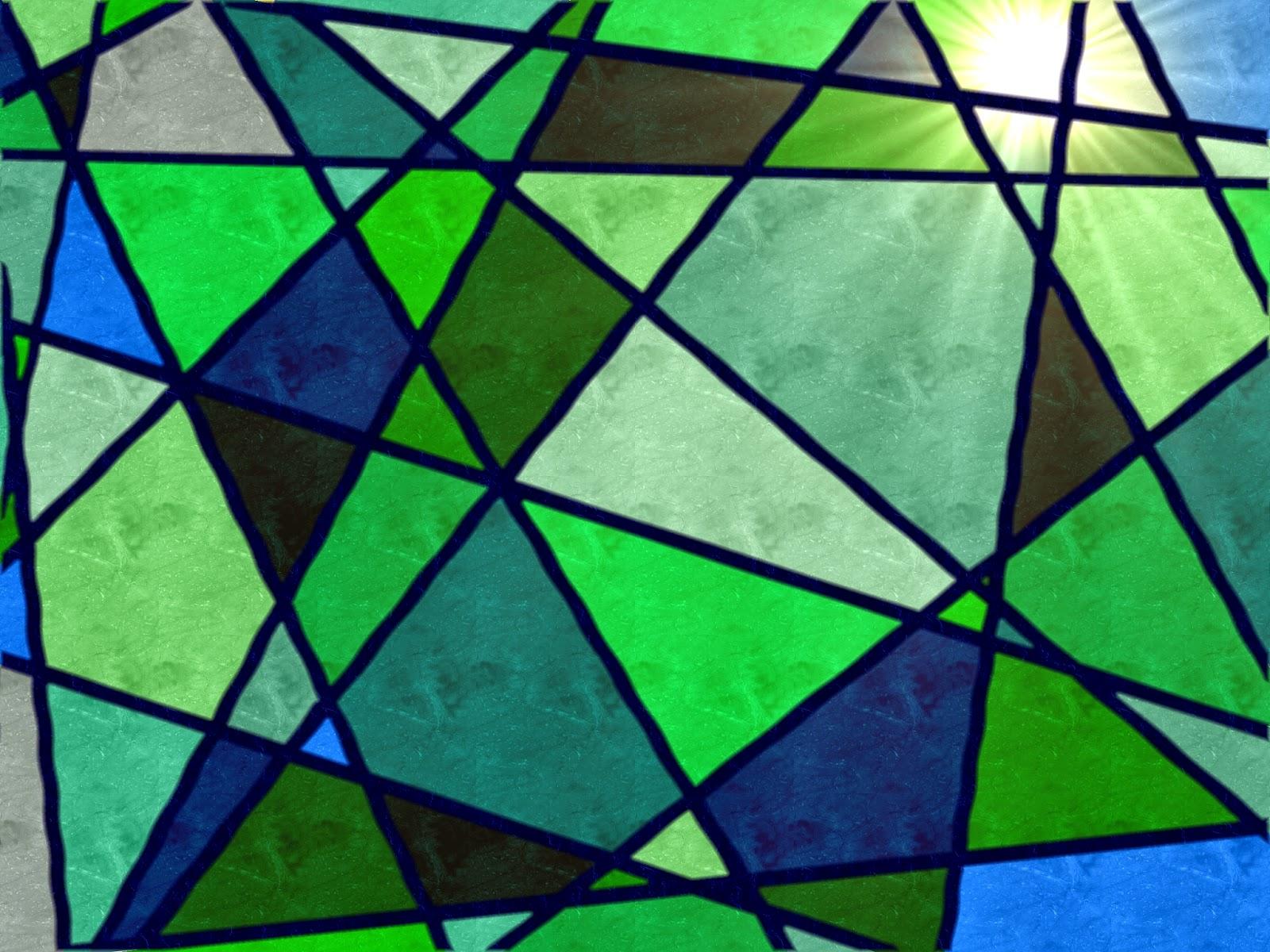 Muster Mosaik Buntglasoptik blau grün