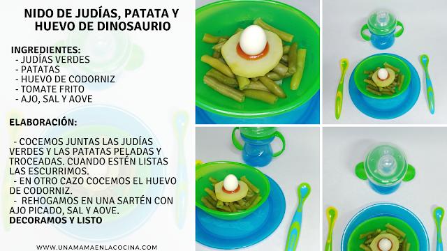 Receta nido de dinosaurio de judías verdes, patata, huevo de codorniz  nuby