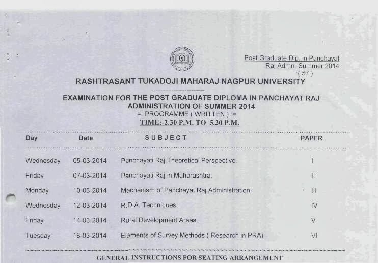 Nagpur University summer 2014 timetable panchayat raj
