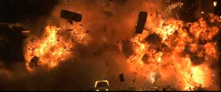 There are many explosions like this one in Renny Harlin's The Long Kiss Goodnight.
