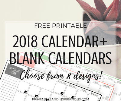 2018 monthly calendar