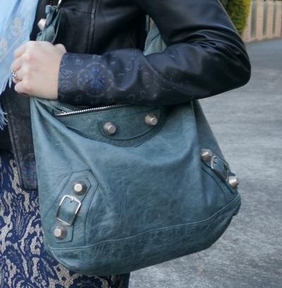 Balenciaga G21 giant hardware tempete storm blue day hobo bag on shoulder