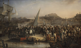 The French painter Joseph Baume's 1836 picture of  Napoleon about to depart from Elba for mainland France