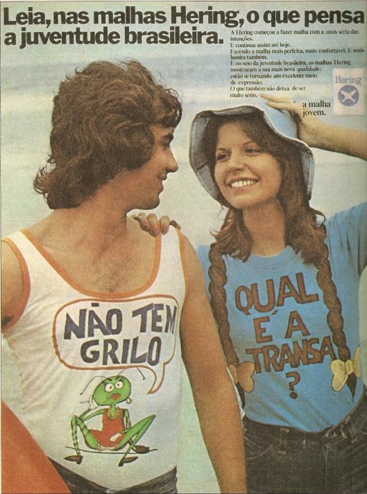 Propagandas da malhas Hering com estampa para jovens dos anos 70